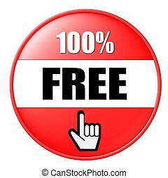 100% free button red