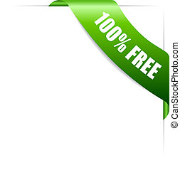 100 free green corner ribbon vector icon
