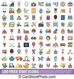 100 free time icons set, cartoon style