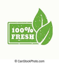 100% fresh green stamp sign