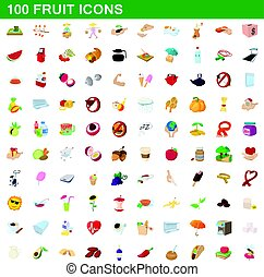 100 fruit icons set, cartoon style