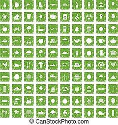 100 fruit icons set grunge green