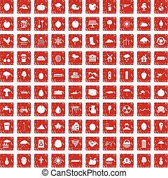 100 fruit icons set grunge red