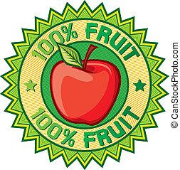 100% fruit label (apple sign, seal, symbol)