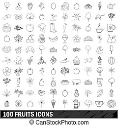 100 fruits icons set, outline style