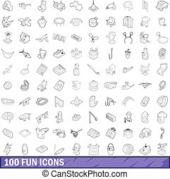 100 fun icons set, outline style