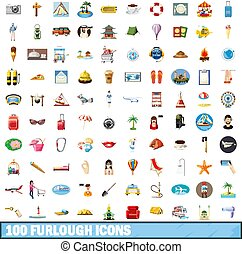 100 furlough icons set, cartoon style - 100 furlough icons...