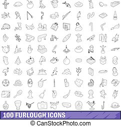 100 furlough icons set, outline style - 100 furlough icons...