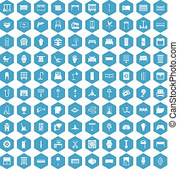 100 furnishing icons set blue