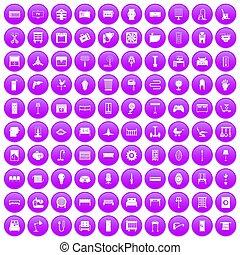 100 furnishing icons set purple