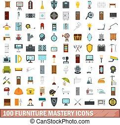 100 furniture mastery icons set, flat style