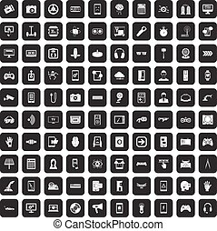 100 gadget icons set black