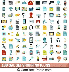 100 gadget shopping icons set, flat style