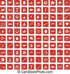 100 gambling icons set grunge red