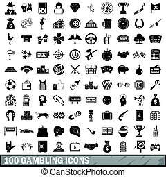 100 gambling icons set, simple style