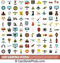 100 gaming icons set, flat style