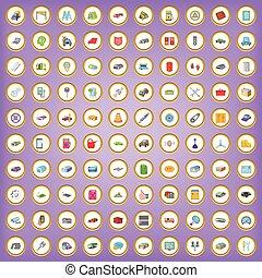 100 garage icons set in cartoon style