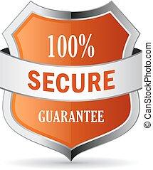 100, garanti, secure, skjold, ikon