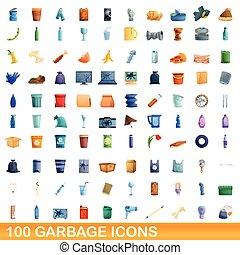 100 garbage icons set, cartoon style