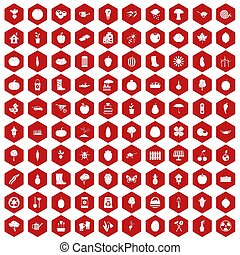 100 garden icons hexagon red