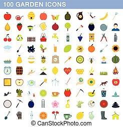 100 garden icons set, flat style