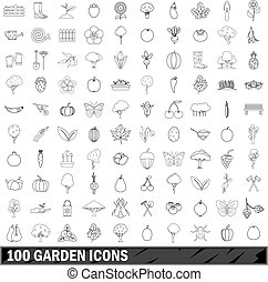 100 garden icons set, outline style