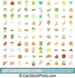 100, gardering, 圖象, 集合, 卡通, 風格