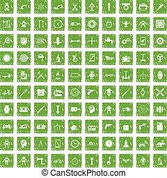 100 gear icons set grunge green