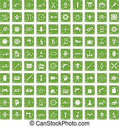 100 gear icons set grunge green
