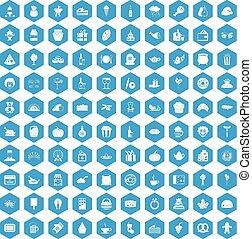100, generosità, icone, set, blu