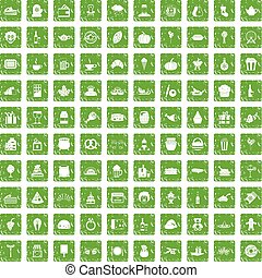 100, generosità, icone, set, grunge, verde