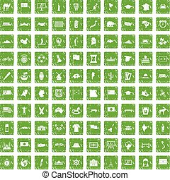 100 geography icons set grunge green