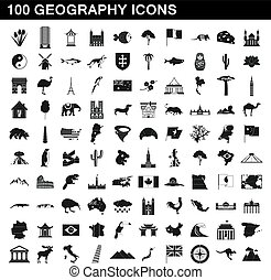 100 geography icons set, simple style