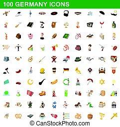 100 germany icons set, cartoon style