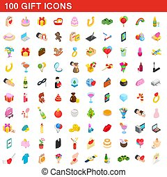 100 gift icons set, isometric 3d style