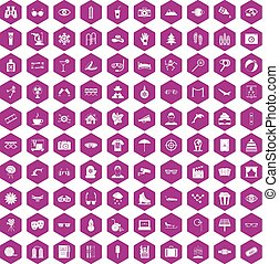 100 glasses icons hexagon violet