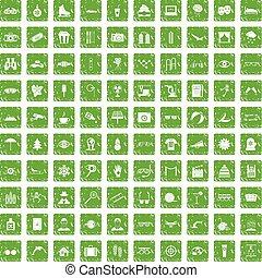 100 glasses icons set grunge green