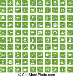 100 glasses icons set grunge green