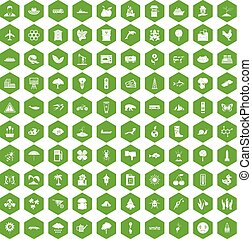 100 global warming icons hexagon green