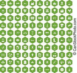 100 global warming icons hexagon green