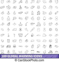 100 global warming icons set, outline style