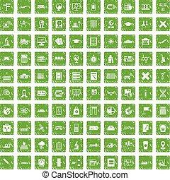 100 globe icons set grunge green