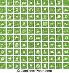 100 glove icons set grunge green