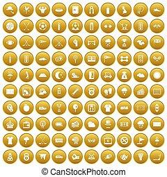 100, golf, iconos, conjunto, oro