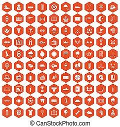 100, golf, iconos, hexágono, naranja