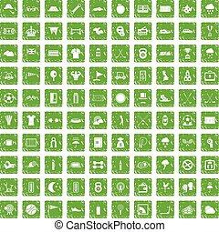 100 golf icons set grunge green