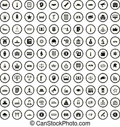 100 government icons set in simple style for any design vector illustration