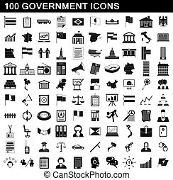 100 government icons set, simple style