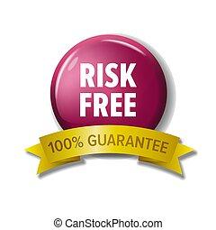 100%, -, gratuite, guarantee', mots, cramoisi, 'risk, bouton, rond
