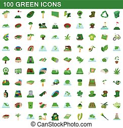 100 green icons set, cartoon style